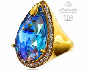 SWAROVSKI SPECIAL RING AQUA ENCANTE GOLD PLATED STERLING SILVER