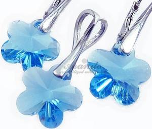 FLOWER JEWELLERY SET SWAROVSKI CRYSTALS SILVER