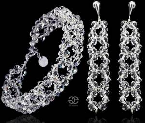 SWAROVSKI UNIQUE WEDDING EARRINGS BRACELET CRYSTAL BRIOLETTE STERLING SILVER 925