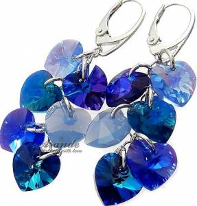 HEARTS LONG EARRINGS SWAROVSKI CRYSTALS SILVER