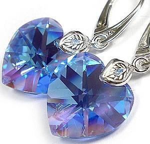 SWAROVSKI EARRINGS SAPPHIRE HEART STERLING SILVER 925