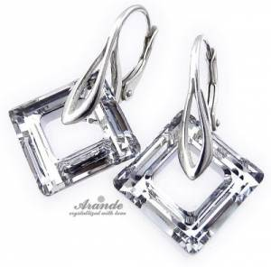 SWAROVSKI CRYSTALS *COMET SQUARE* EARRINGS+PENDANT STERLING SILVER CERTIFICATE