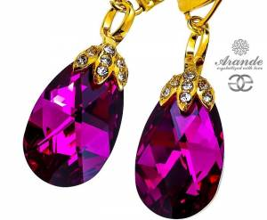 SWAROVSKI UNIQUE EARRINGS FUCHSIA SPECIAL 24K GOLD PLATED SILVER