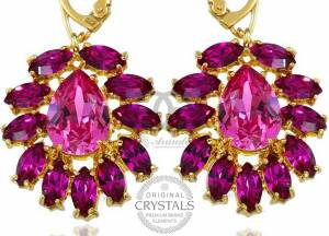 SWAROVSKI UNIQUE EARRINGS FUCHSIA AZURE GOLD PLATED STERLING SLIVER