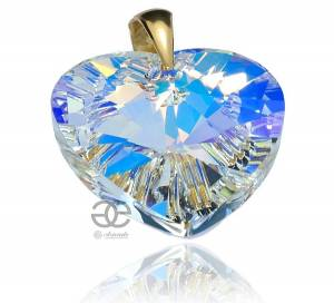 SWAROVSKI LARGE PENDANT AURORA HEART GOLD PLATED STERLING SILVER