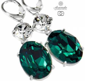 SWAROVSKI BEAUTIFUL EARRINGS EMERALD CRYSTAL STERLING SILVER