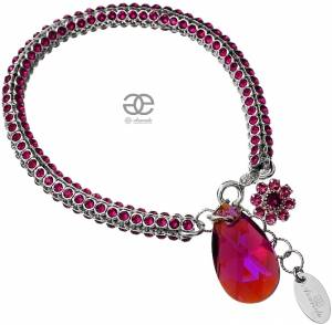 NEW UNIQUE BRACELET SWAROVSKI CRYSTALS *FUCHSIA CRYSTALLIZED* SILVER 925