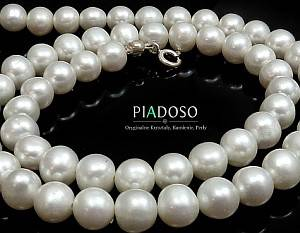 GENUINE WHITE PEARLS NATURAL BEAUTIFUL NECKLACE STERLING SILVER