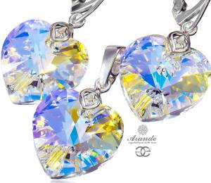 SWAROVSKI BEAUTIFUL EARRINGS PENDANT AURORA HEART STERLING SILVER 925