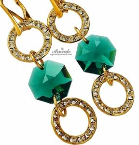 SWAROVSKI CRYSTALS EARRINGS EMERALD STERLING SILVER 24K GOLD PLATED
