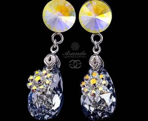 SWAROVSKI UNIQUE EARRINGS *PARIS AURORA COMET* STERLING SILVER 925
