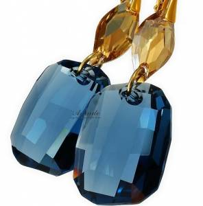 EARRINGS SWAROVSKI CRYSTALS *DENIM BLUE GOLD* 24K GP STERLING SILVER