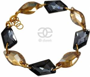 SWAROVSKI GOLDEN NIGHT BRACELET STERLING SILVER