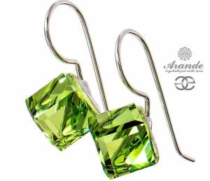 SWAROVSKI EARRINGS *PERIDOT CUBE 8MM* STERLING SILVER 925