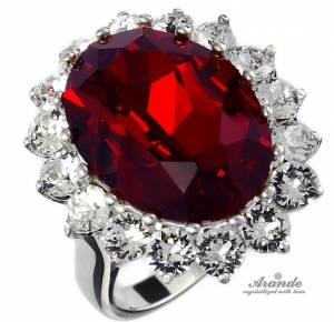 KATE RING SWAROVSKI CRYSTALS *ROYAL RED* STERLING SILVER 925 CERTIFICATE