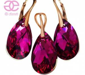 NEW! SWAROVSKI CRYSTALS FUCHSIA COMET EARRINGS+PENDANT ROSE GOLD SILVER