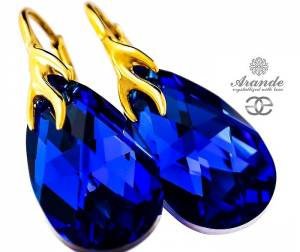 SWAROVSKI DECORATIVE EARRINGS BLUE COMET GOLD PLATED SILVER