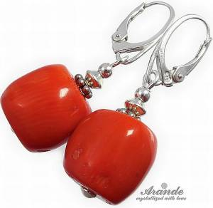 NATURAL CORAL BEAUTIFUL EARRINGS STERLING SILVER 925