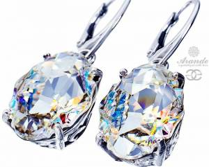 NEW SWAROVSKI UNIQUE EARRINGS CRYSTAL AURORA STERLING SILVER 925
