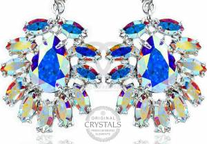 SWAROVSKI UNIQUE EARRINGS AURORA AZURE STERLING SILVER