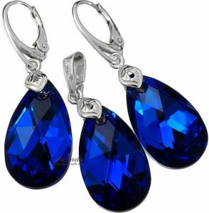 SWAROVSKI UNIQUE EARRINGS PENDANT BLUE COMET STERLING SILVER 925