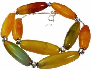 NECKLACE YELLOW AGATE SILVER 925 NATURAL GEMSTONES
