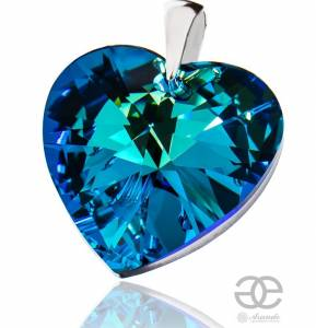 SWAROVSKI LARGE PENDANT BLUE HEART STERLING SILVER