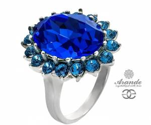 KATE RING SWAROVSKI *ROYAL BLUE* STERLING SILVER 925