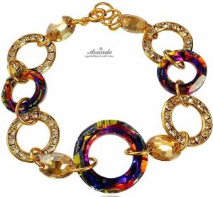 BRACELET SWAROVSKI CRYSTALS *VOLCANO RING GOLD* GOLD PLATED SILVER CERTIFICATE