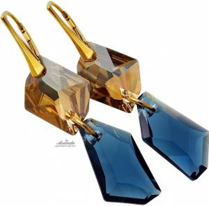 SWAROVSKI UNIQUE EARRINGS MONTANA GOLD PLATED STERLING SILVER
