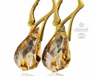 SWAROVSKI BEAUTIFUL EARRINGS GOLDEN SHADOW GOLD PLATED STERLING SILVER