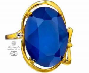 SWAROVSKI NEW UNIQUE RING ROYAL BLUE GOLD PLATED STERLING SILVER