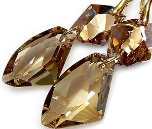 SWAROVSKI EARRINGS+PENDANT *GOLDEN COSMO* STERLING SILVER 24K GOLD PLATED