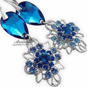 SWAROVSKI UNIQUE BEAUTIFUL EARRINGS BLUE VENUE STERLING SILVER 925