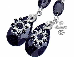 SWAROVSKI EARRINGS *NIGHT LOTUS* STERLING SILVER