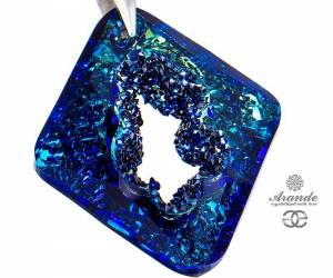NEW SWAROVSKI LARGE PENDANT BERMUDA BLUE DESIGN STERLING SILVER 925