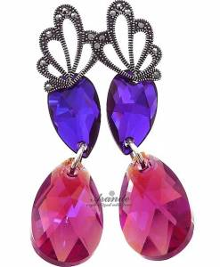 SWAROVSKI SPECIAL EARRINGS FUCHSIA NEON ADORE STERLING SILVER 925