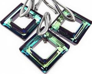 SWAROVSKI CRYSTALS *BLUE SQUARE* EARRINGS+PENDANT STERLING SILVER CERTIFICATE