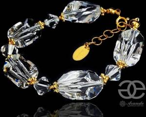 SWAROVSKI BEAUTIFUL BRACELET CUBIC CRYSTAL GOLD PLATED STERLING SILVER