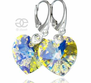 SWAROVSKI EARRINGS AURORA HEART STERLING SILVER