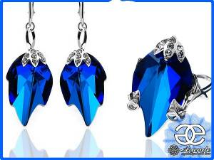 SWAROVSKI JEWELLERY SET BLUE LEAF STERLING SILVER  CERTIFICATE