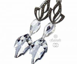 SWAROVSKI UNIQUE EARRINGS COMET LEAF ADMIRE STERLING SILVER 925