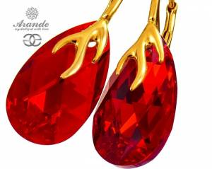SWAROVSKI DECORATIVE EARRINGS SIAM GOLD PLATED SILVER