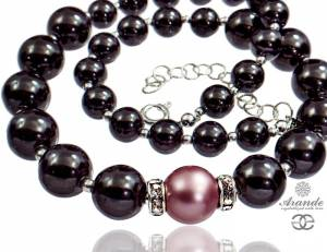 SWAROVSKI PEARLS NATURAL HEMATITE BEAUTIFUL NECKLACE STERLING SILVER 925