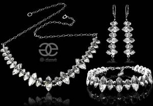 SWAROVSKI BEAUTIFUL WEDDING SET CRYSTAL NAVI STERLING SILVER