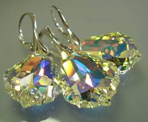 ELEGANT SWAROVSKI CRYSTALS EARRINGS+PENDANT AURORA SWAROWSKI STERLING SILVER