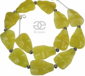 OLIVE JADE BEAUTIFUL SILVER NECKLACE