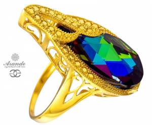 SWAROVSKI RING MERIDIAN BLUE ADMIRE GOLD PLATED STERLING SILVER