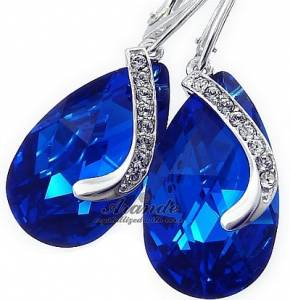 SWAROVSKI CRYSTALS UNIQUE EARRINGS *BLUE COMET SENTI* STERLING SILVER
