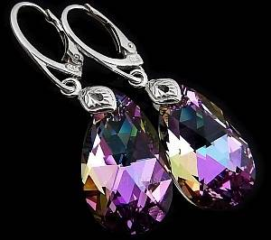 SWAROVSKI CRYSTALS *VITRAIL LIGHT* EARRINGS STERLING SILVER CERTIFICATE